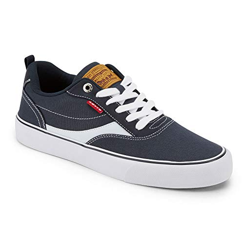 Levi's Mens Lance CT Canvas Sneaker Shoe, Navy/White, 9.5 M