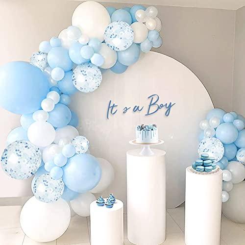 MMTX Baby Shower Decoraciones Niño,100 Piezas Azul Blanco Globos Guirnalda Kit con Látex Confeti Globos para Revelar el Género,Niño Cumpleaños Fiesta Boda Decoración Globos (Blue)