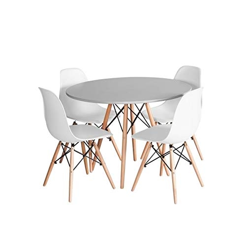 Ventemeublesonline Pack Table Tower Wood Gris Y 4 CHAISES Tower Wood Blanches