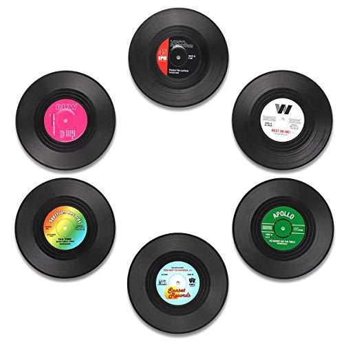 Untersetzer mit lustigen Etiketten, Vinyl-Platten-Motiv, 6er-Set Getränke-Untersetzer mit Geschenk-Box, Tisch-Schutz, verhindert Schäden an Möbeln