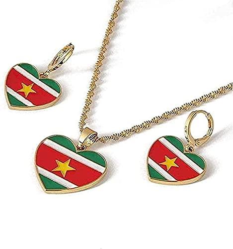 Yiffshunl Collar Collar de Moda de Acero Inoxidable con Bandera de Ghana Colgante Collar Pendientes Mapas de Ghana Conjuntos de Joyas patrióticas