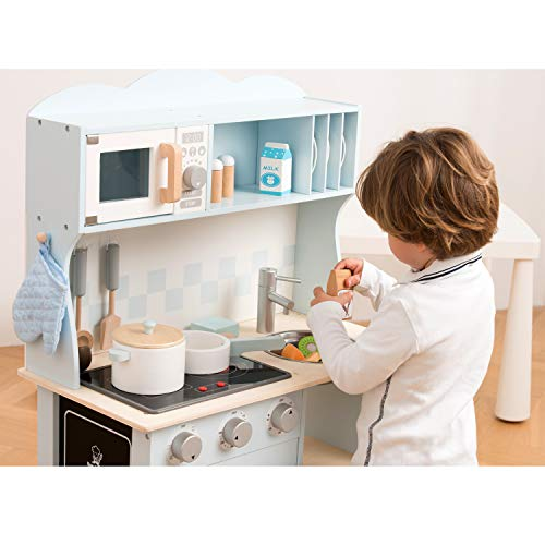 New Classic Toys 11065 Küchenzeile-Modern mit Kochfeld Multi Color – hier in Blau - 5