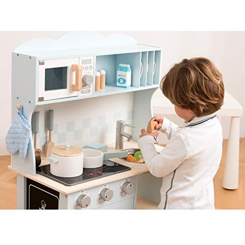 New Classic Toys 11065 Küchenzeile-Modern mit Kochfeld Multi Color – hier in Blau - 8