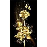 DIY pintura diamante 5D taladro completo kit Rosa dorada 30X60cm 12x24in,Diamond Painting grande Adultos/Niño Bordado punto de cruz Cristal Rhinestone Mosaico Cuadro manualidades Mural decor