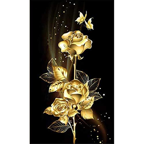 DIY pintura diamante 5D taladro completo kit Rosa dorada 30X60cm 12x24in,Diamond Painting...