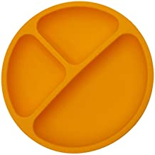 Yardwe Kids Divided Plates Soft Silicone Baby Toddler Plate Portable Non Slip Child Feeding Plate (Orange)