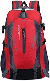 Backpack Large-Capacity Travel Mountaineering Bag Men and Women Outdoor Sports Leisure Nylon Waterproof Backpackage(Red) (Color : Orange)