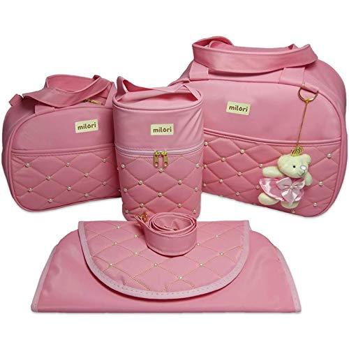 Kit com 4 Bolsas de Maternidade Pérola - Térmico Impermeável - Rosa Bebê