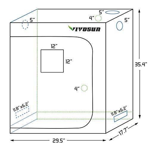 VIVOSUN Grow Tent 30″x18″x36″