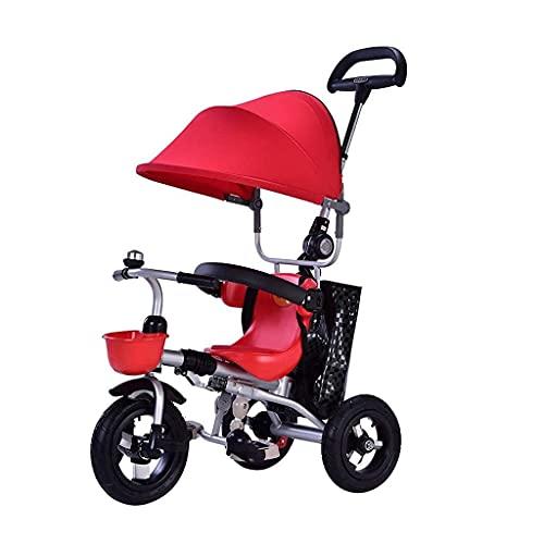 OHHG Bicicleta niños, Triciclo Triciclo Carrito bebé 1 a 3 años Triciclo bebé Plegable Cochecito bebé toldo Ajustable Bolsa Almacenamiento Freno Barandilla Desmontable Carrito bebé Cochecito bebé