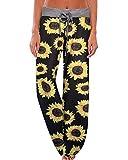 JINGCHENG Women's Comfy Stretch Floral Print High Waist Drawstring Palazzo Wide Leg Pants (024-Big Sunflower, Large) (Apparel)