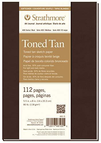 """Strathmore Toned Tan Blocco Carta da Disegno, 5,5""""X 8"""", 112 Pagine"""