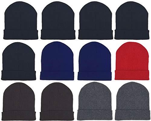 12 Pack Winter Beanie Hats for Men Women, Warm Cozy Knitted Cuffed Skull Cap, Wholesale
