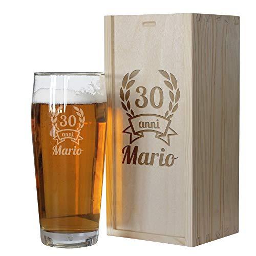 Angolo del regalo Cofanetto Bicchiere Birra Compleanno Personalizzato con Anno di Nascita