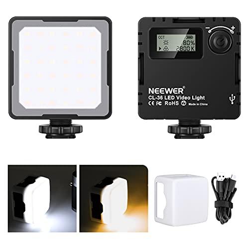 Neewer CL-36 Mini Luz de Video LED, Luz Portátil en Cámara con Batería Recargable de 2000mAh / Pantalla LCD/Zapata Fría, Luz de Relleno de Vlog Bicolor CRI95 Regulable 2800K – 8500K