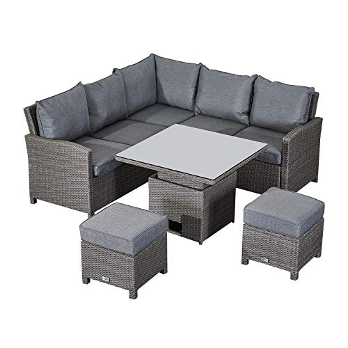 Nova Outdoor Living - Compact Ciara Outdoor Rattan Corner Sofa Dining Set with Rising Table - Double Half Round Slate Grey Weave