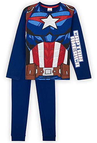 Marvel Pijama Niño, Capitan America Pijamas Niños, Conjunto Pijama Niño Invierno de Manga Larga, Regalos para Niños y Adolescentes 18 Meses-14 Años (Azul, 7-8 años)