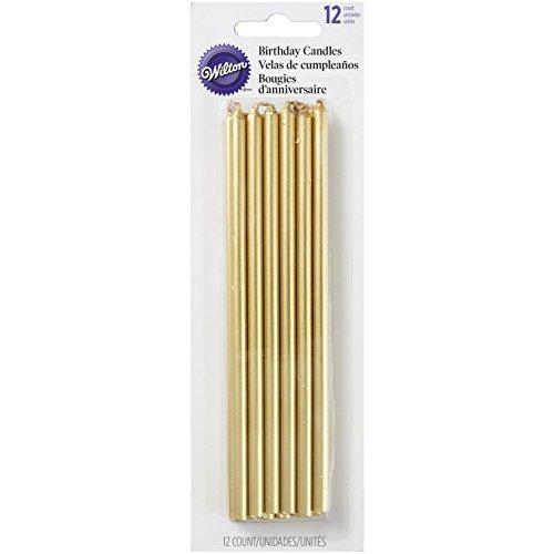 Wilton Tall Gold Birthday Candles, Wax, 1.6 x 6.35 x 19.99 cm