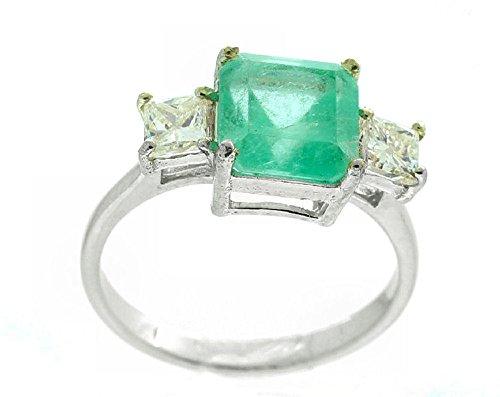Colombian 3.22ct 3 pietre di diamante e smeraldo sintetici in oro bianco 14 k