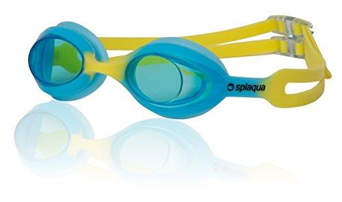 Splaqua Kids Swim Goggles - No Leak, UV Protection & Anti-Fog Lenses with Adjustable Strap, Swimming Goggles for Youth, Kids, Children   with Bonus Ear Plugs (Blue/Yellow)