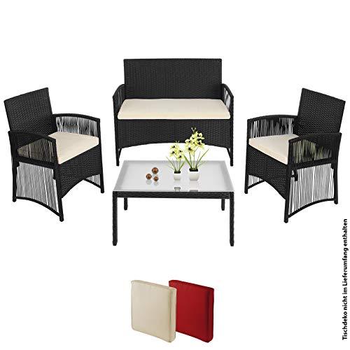 BB Sport 7-teilige Polyrattan Garten Sitzgruppe 4 Personen mit Tisch und Kissen in extravagantem Design Zweisitzer Sessel Balkon Terasse, Farbe:Sandstrand