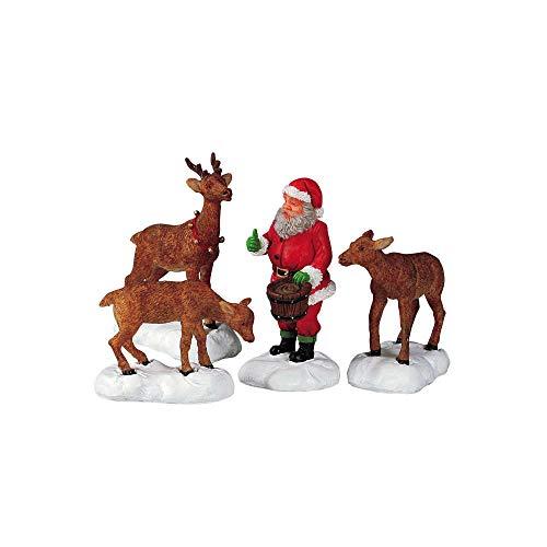 Lemax Santa Feeds Reindeer Set of 4 Christmas Collection