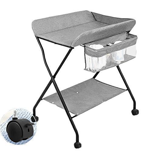 Tables à langer Table Pliante Changing et Support de Rangement, Soins Infirmiers Multifonctions Bureau Change Diapers, Soins Massage, Portance 20 kg (Color : Gray)