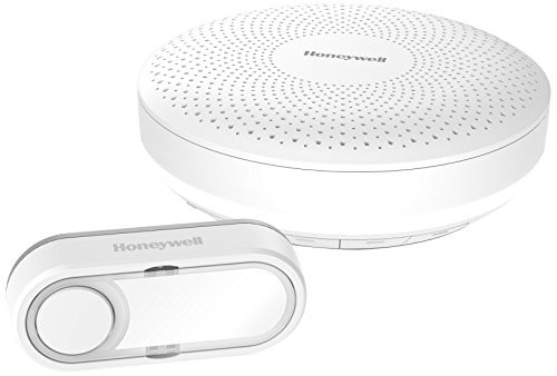 Honeywell Home Funk-Gong-Set Rund mit Lautstärkeregelung, Lichtring und Klingeltaster, weiß, DCR313S