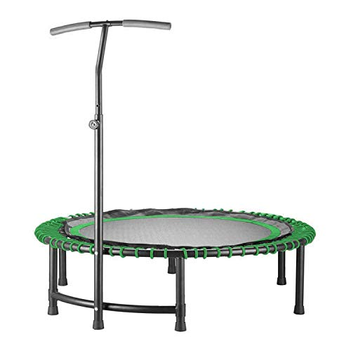 LIUDOU Ultra Quiet Fitness Mini Circular Trampoline with Adjustable Handle,Safe Elastic Band - Indoor Fitness/Home Workout Cardio Training for Adults