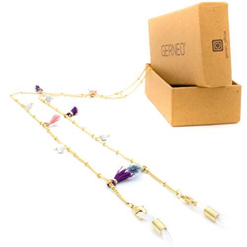 GERNEO - DAS ORIGINAL - Premium Brillenkette & Brillenband - Perlen & Fähnchen - aus 18 Karat Goldlegierung - Pastelltöne - Unisex für Lesebrille & Sonnenbrille - Kollektion 2020