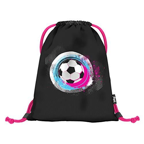 baagl Turnbeutel für Mädchen und Damen - wasserdichte Schuhbeutel, Schule und Kindergarten Sportbeutel, Sportrucksack (Fußball Pink)