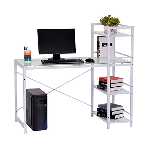 HOMCOM 50' Multi Shelf Tower Office Workstation Computer Desk - Black