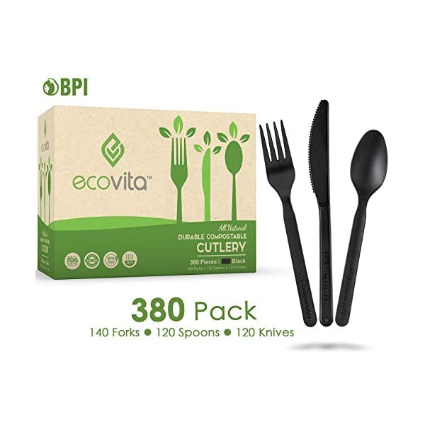 100% Compostable Forks Spoons Knives Cutlery Combo Set - 380 Large Disposable Utensils (7 in.) Eco Friendly Durable and…