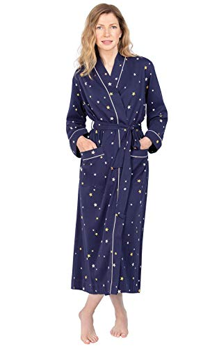 PajamaGram Women's Robe Soft Comfy - Women Bathrobes, Navy, Medium/Large / 10-16