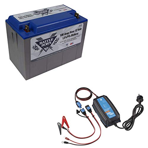 Battle Born Batteries BB10012 100Ah 12V LiFePO4 Lithium Deep Cycle Battery Bundle with Victron IP65 15A Bluetooth Charger