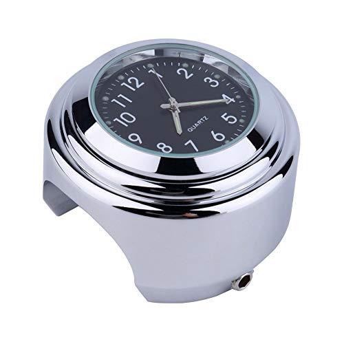 PULABO Edelstahl wasserdichte Lenkerhalterung rundes Zifferblatt Uhr für Motorrad Motorrad praktisch und nützlich bequem und praktisch