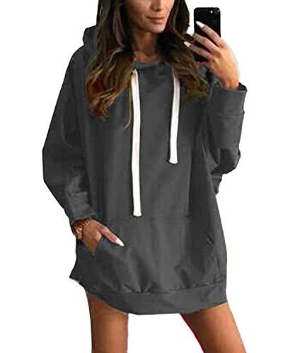 YOINS Sweatshirt Damen Langer Kapuzenpullover Langarm Hoodie Pullover mit Tasche Pulli Kleider Strickjacke Lange Tops Mantel (L, Aktualisierung-Dunkelgrau)