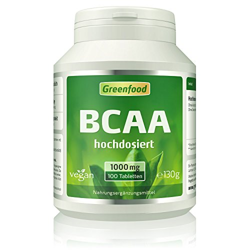 BCAA, 1000 mg, hochdosiert, 100 Tabletten, vegan – fördert den Muskelaubau, sichert den Muskelerhalt. OHNE künstliche Zusätze. Ohne Gentechnik.