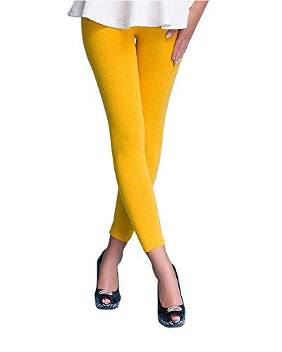 Leggings amarillos para mujeres. Largos de Cintura alta de algodón.