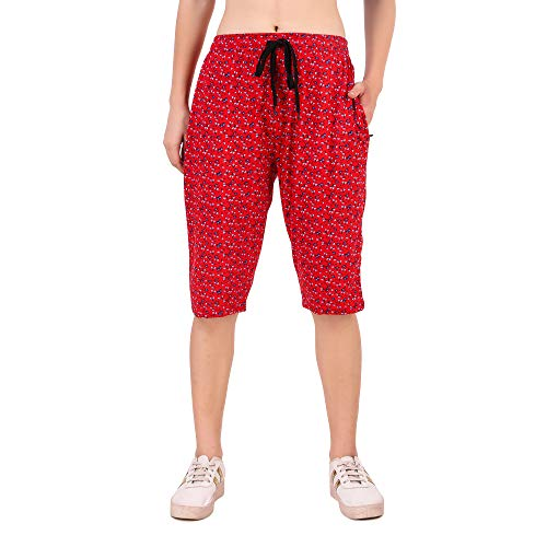 UZARUS Women's Cotton Three Fourth Capri Shorts with Two Zippered...