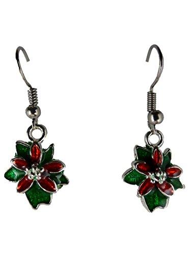 Ohrringe Hänger Ohrhänger Blumen Blüte Weihnachtsstern rot/grün Pflanze 8943