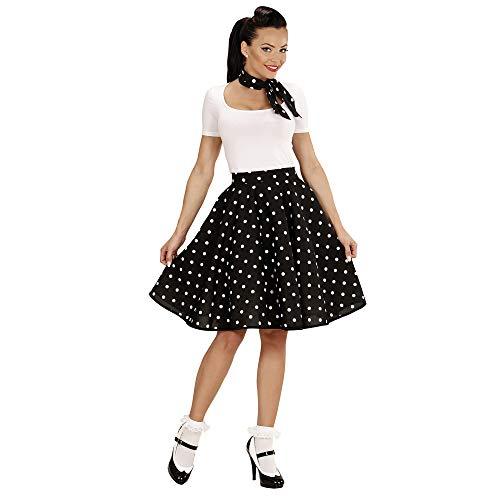 WIDMAN 50s Lady Disfraz Lunares falda y bufanda Set Adultas, Negro, Talla unica