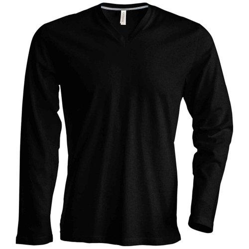 T-shirt à manches longues et col en V coupe cintrée Kariban pour homme (S) (Noir)