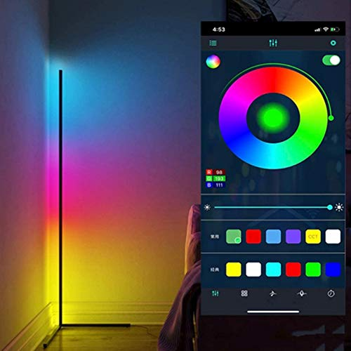 WFWPY Luz De Piso LED RGB Inteligente, Luz Que Cambia De Color 20W Regulable Blanco Cálido Blanco Frío APLICACIÓN Bluetooth Control Iluminación WiFi Decoración 140CM [Clase Energética A]