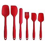 Ouqian Utensilios de Cocina Set Hornear Herramienta 6pcs Alta Temperatura Pastel de Silicona Resistente Crema Espátula Juego de Cocina Herramienta de Regalo (Color : Red, Size : 6pcs)