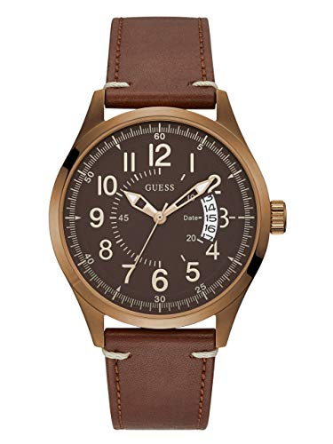 Raad horloges mannen lederen Rose gouden horloge W1102g3