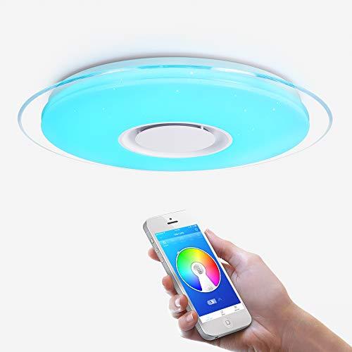 OFFDARKS - Plafóns LED Lámparas de Techo con Altavoz Bluetooth, APP Mando a Distanci + brillo ajustable + color change (A - 36W 450MM Redondo)