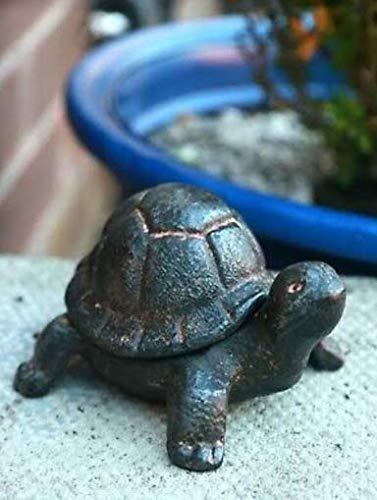 Garden Mile Boîte de rangement rustique pour clés de rechange en fonte Motif tortue ou escargot, Tortoise