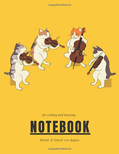 violin Notebook: cats Playing violin music Funny Lined ruled and blank Pages Notebook with cat cover Journal for writing and drawing for childrens. ... or music lovers Violin Cute Notebook