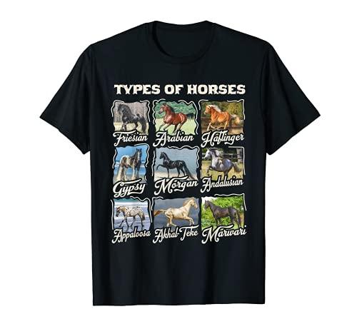 Camiseta de caballo Tipos de razas de caballos Cabalgata Camiseta
